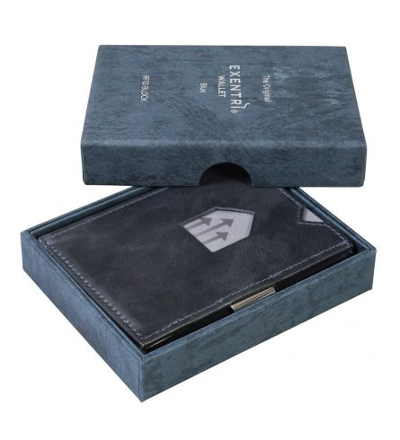 Exentri RFID Wallet Blue Leather Wallet