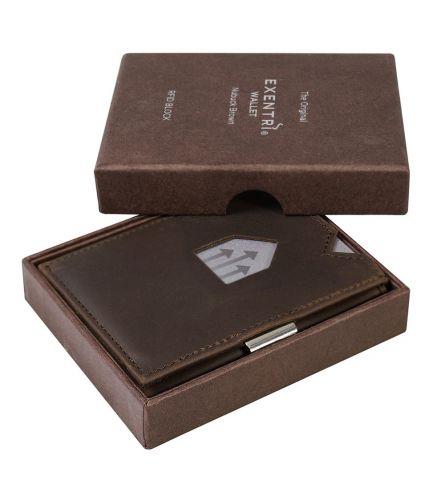 Exentri Wallet RFID Nubuck Brown Smart Wallet